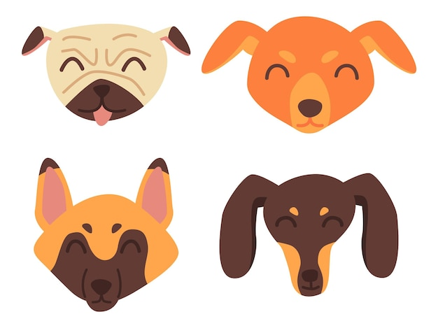 Cute dog face collection in flat style