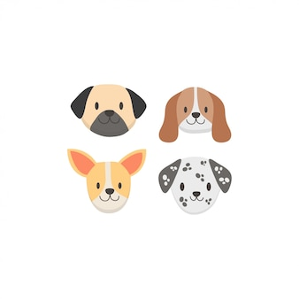 Cute dog face collection