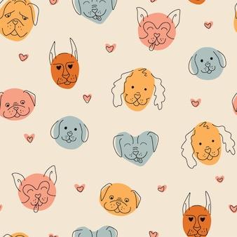 귀여운 강아지 얼굴 완벽 한 패턴입니다. 어린이 인쇄. 추상적인 벡터 배경입니다.