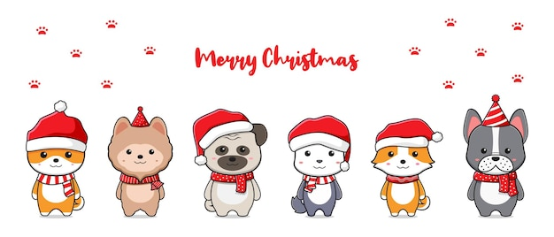 Cute dog family greeting merry christmas cartoon doodle card background