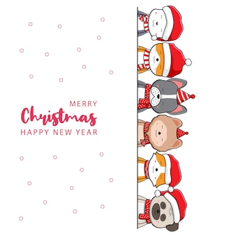 Cute dog family greeting merry christmas happy new year cartoon doodle card background