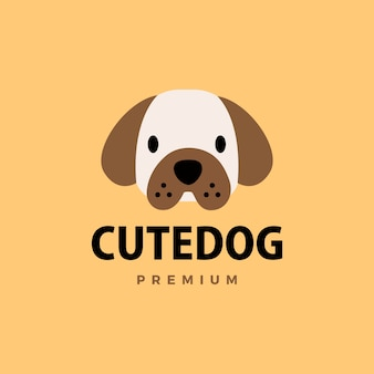 귀여운 강아지 플랫 로고 아이콘 그림