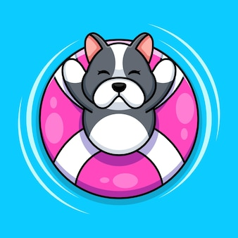Cute dog floating with swim ring cartoon