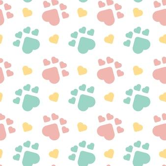 Cute dog footprint бесшовный узор