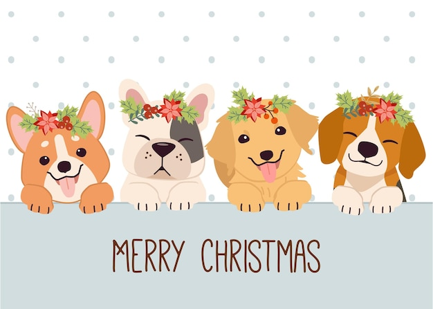 Cute dog and friends with floral wreath wishing merry christmas