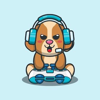 Cute dog gaming cartoon vector illustration