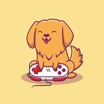 Cute dog gaming   icon illustration. animal game icon concept isolated   . flat cartoon style