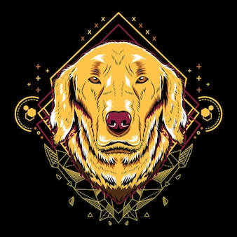 Cute dog golden retriever  geometry illustration style in black background.