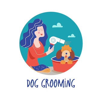 Cute dog at groomer salonwoman makes a haircut dog dog grooming concept