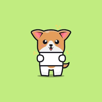 Cute dog hold banner cartoon icon illustration