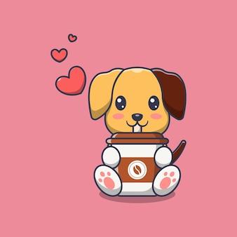 Милая собака держит чашку кофе