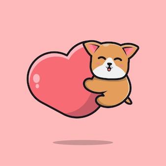 Милая собака держит сердце мультфильм значок иллюстрации
