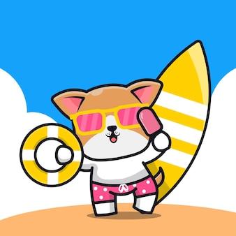 Милая собака держит кольцо для плавания с мороженым и мультяшную иллюстрацию доски для серфинга