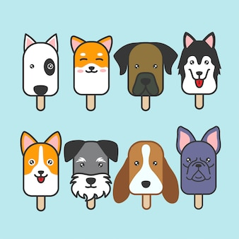 Cute dog ice cream vector set