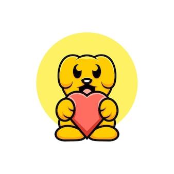 Милая собака иллюстрации держит любовь мультяшном стиле