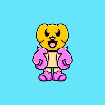 モダンなドレスの漫画スタイルのかわいい犬のイラスト