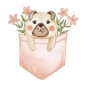 花の水彩イラストのポケットの中のかわいい犬