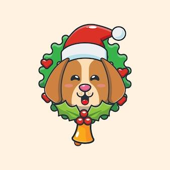 크리스마스 날에 귀여운 강아지 귀여운 크리스마스 만화 일러스트 레이션
