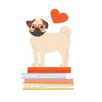 赤い眼鏡をかけたかわいい犬が本の上に立っています。シルエットの心とペットの手描きの肖像画。