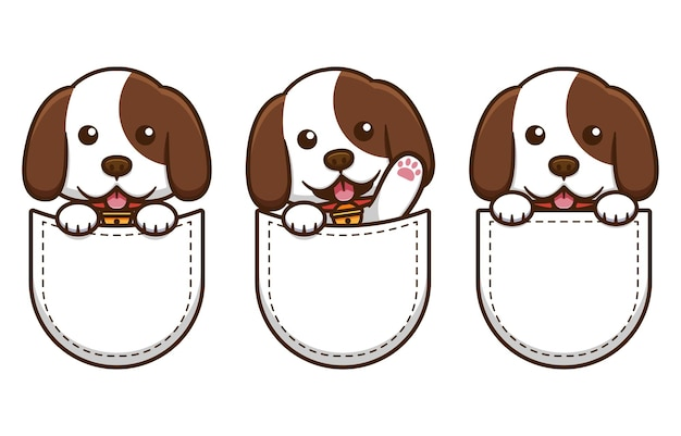 ポケットデザインのかわいい犬