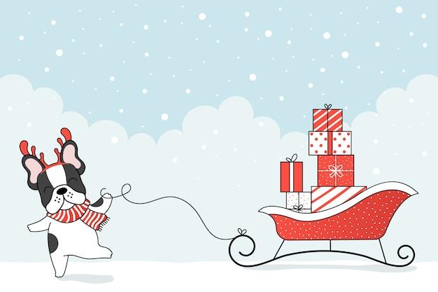 Милая собака в зимнем головном уборе и санях санты с подарочной коробкой. привет, зима