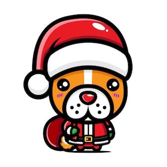 귀여운 강아지가 크리스마스를 축하하고 있다