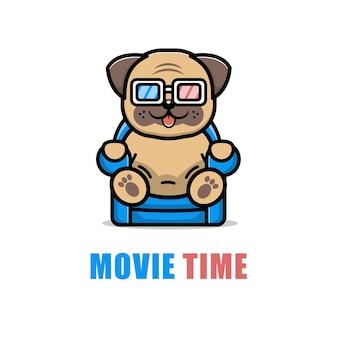 Cute dog is watching a film cartoon illustration