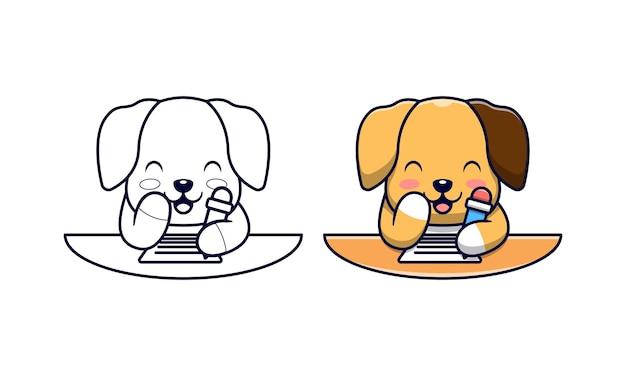 かわいい犬は子供のための漫画の着色ページを書いています