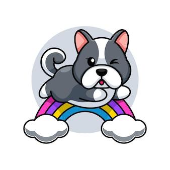 Милая собака прыгает с радугой