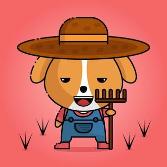 Cute dog kawaii in farmer's uniform with peasant fork in hand