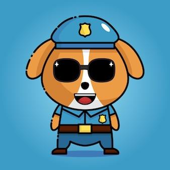 경찰 제복을 입은 귀여운 강아지 카와이