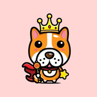 Cute dog king character design