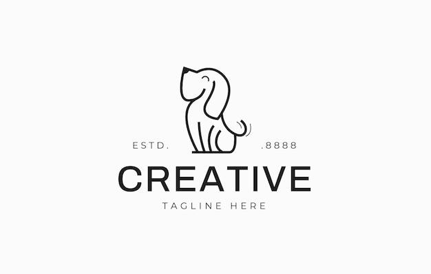 かわいい犬のラインのロゴデザインテンプレート