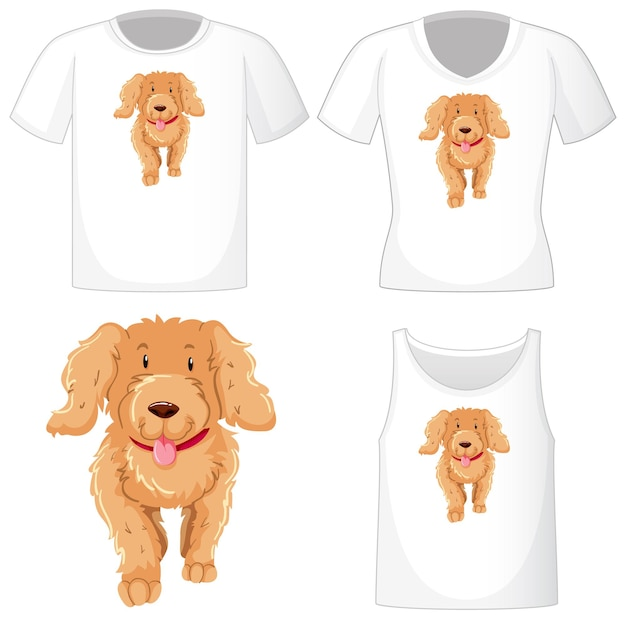 Cute dog logo on different white shirts isolated on white background