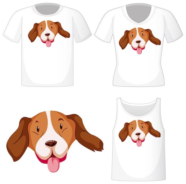 Logo del cane carino su diverse camicie bianche isolate