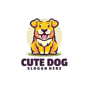 Cute dog logo isolated on white
