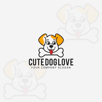 Cute dog love logo