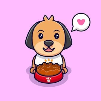かわいい犬は漫画のアイコンのイラストを食べるのが大好きです。フラット漫画スタイル