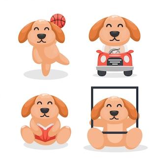 かわいい犬のマスコット漫画のコレクション
