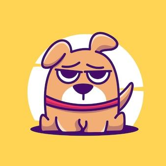Милая собака талисман характер иллюстрации вектор значок