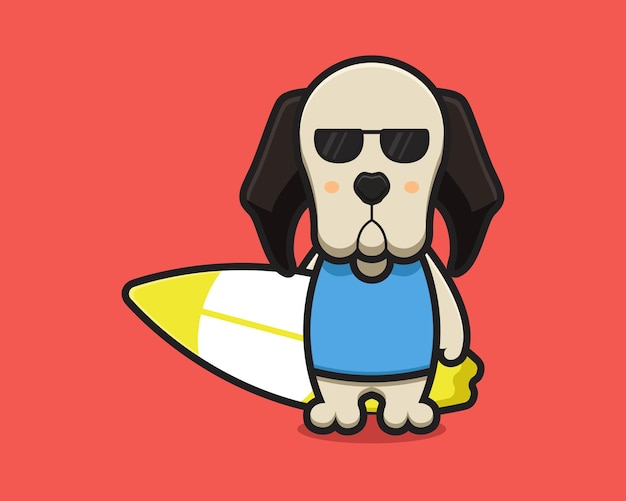 Cute dog mascot character wear glasses and holding swimming board cartoon   icon illustration. design isolated on red. flat cartoon style.