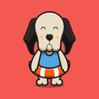 Cute dog mascot character wear swimming buoy cartoon   icon illustration. design isolated on red. flat cartoon style.