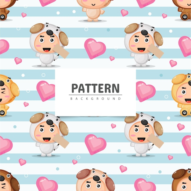 귀여운 강아지 마스코트 원활한 패턴
