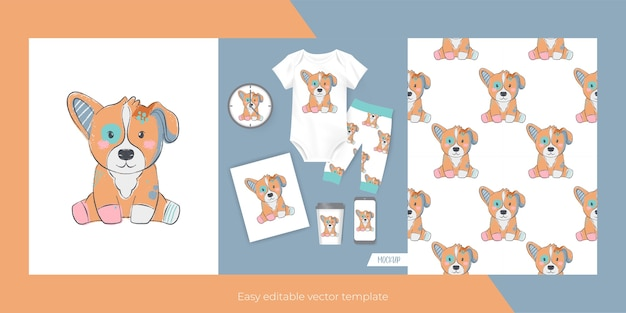 Cute dog for merch and seamless pattern