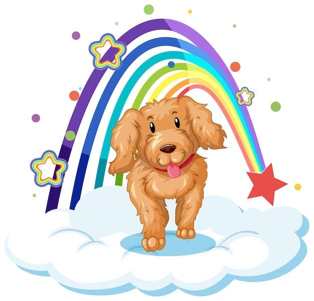 무지개와 함께 구름에 귀여운 강아지