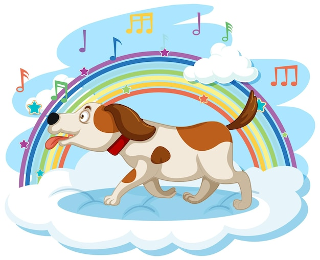 Милая собака на облаке с радугой