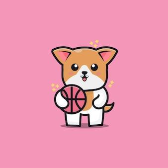 Милая собака играть в баскетбол мультфильм значок иллюстрации
