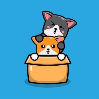 Cute dog play in box cartoon illustration