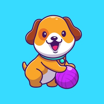 Cute dog playing ball   icon illustration. puppy dog mascot cartoon character. animal icon concept isolated