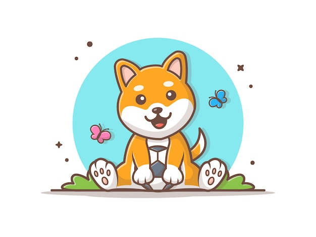 Cute dog playing ball with butterfly  icon illustration